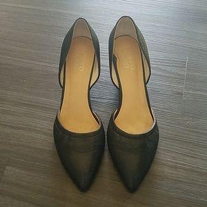 Designer Black Leather Wedges